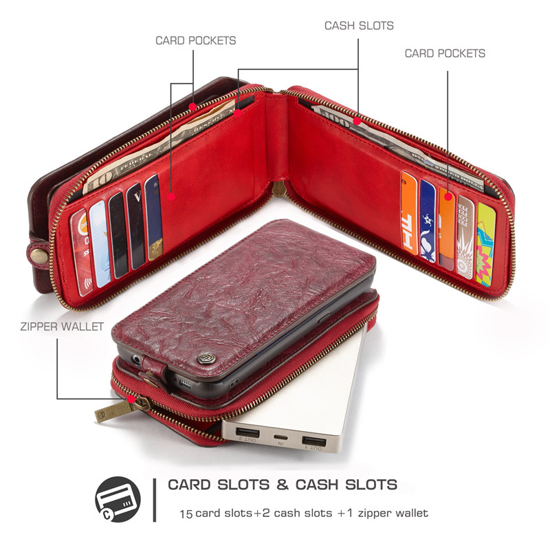 CaseMe Luxury Genuine Leather Cover Flip Case For Samsung Galaxy S7 Phone Case Multi-function Removable Magnet Stand Wallet Bags