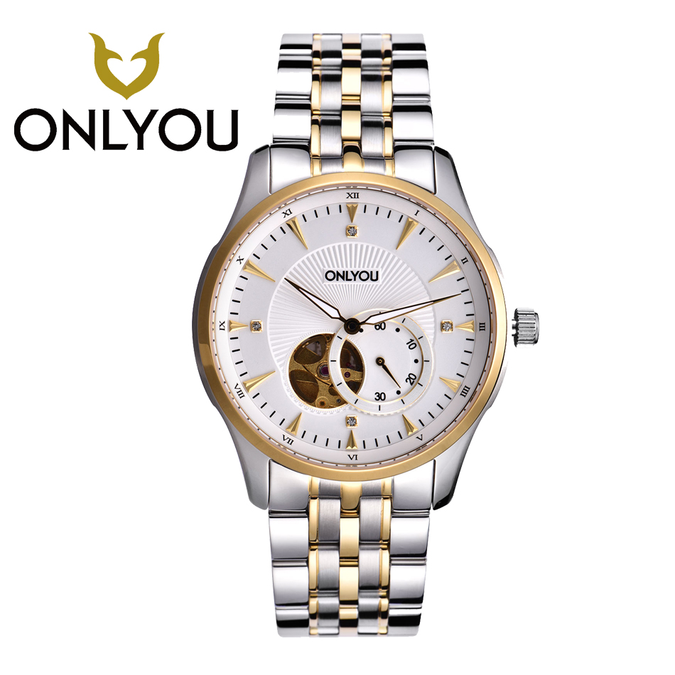 ONLYOU Men Watch Mechanical Watch Waterproof Business Men s Stainless Steel Wristatch