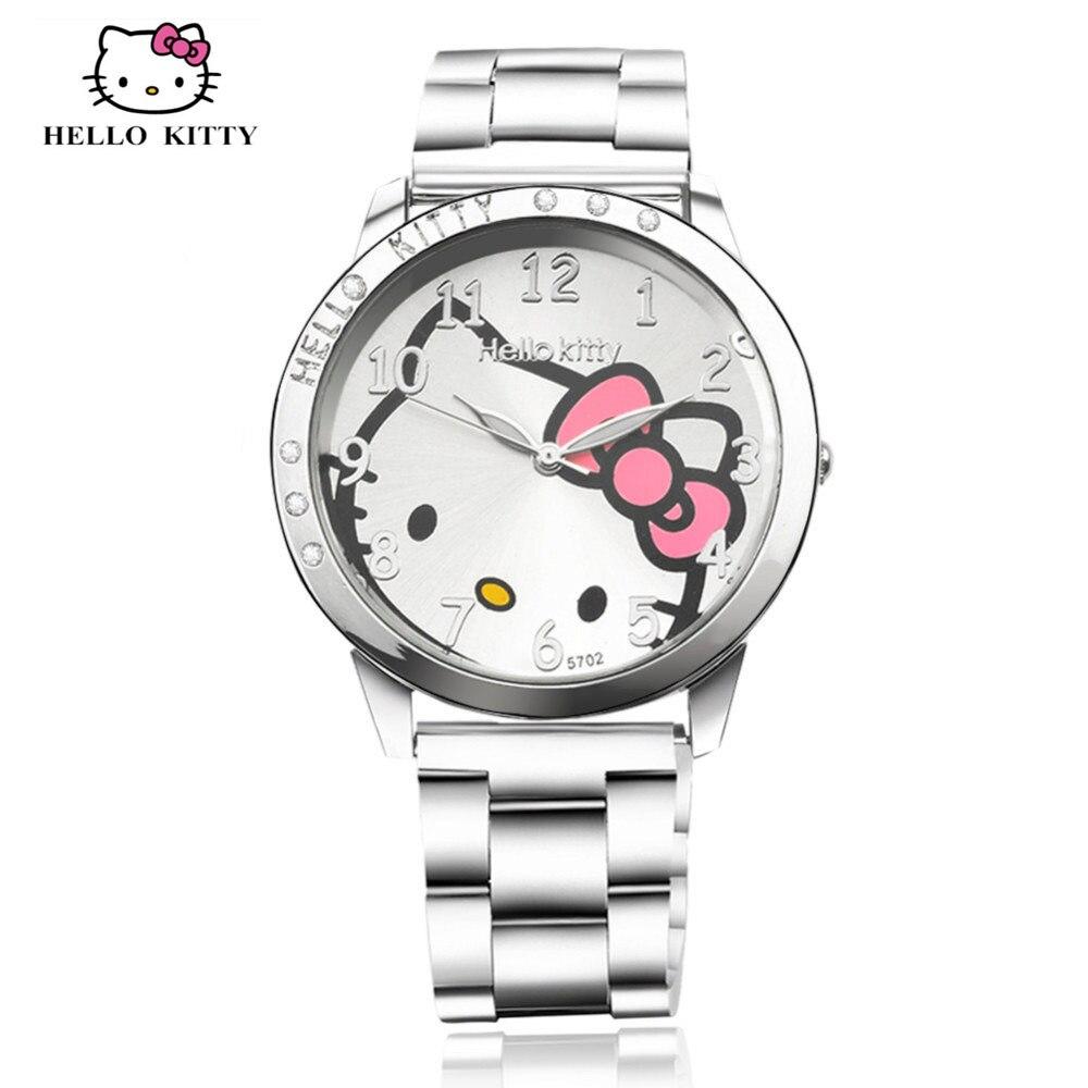 Toy Hello Kitty Watch : Full steel hello kitty watch women quartz wristwatch