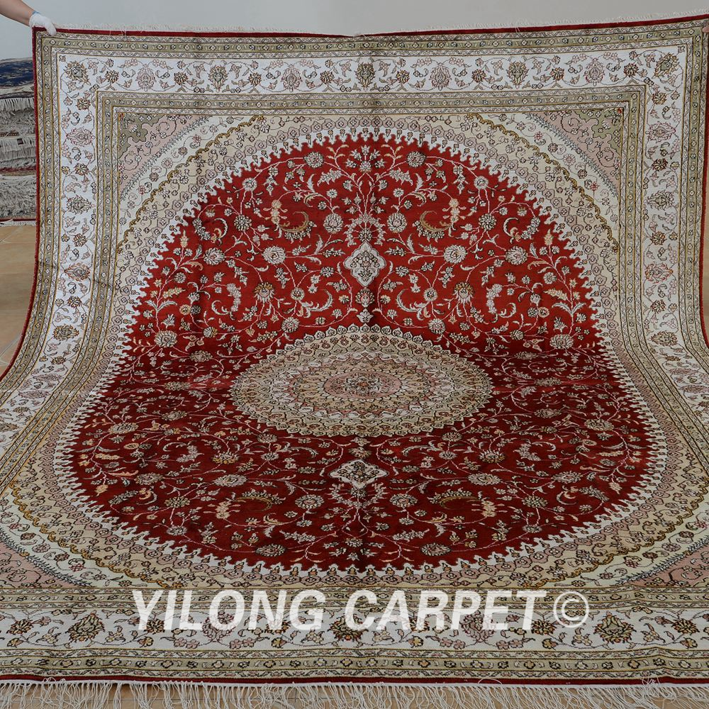 Yilong 8 X10 Vintage Persian Carpet Exquisite Red Medallion Whole Turkish Silk Rugs