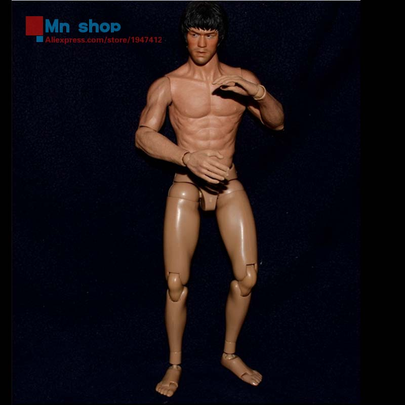 Nude Male 1/6 Scale Muscular Narrow Shoulder Figures Asian Color Male Bruce Lee 12 Action Figure Doll Toys ZC Toys s005 No Head 1 6 scale nude male body figure muscle man soldier model toys for 12 action figure doll accessories
