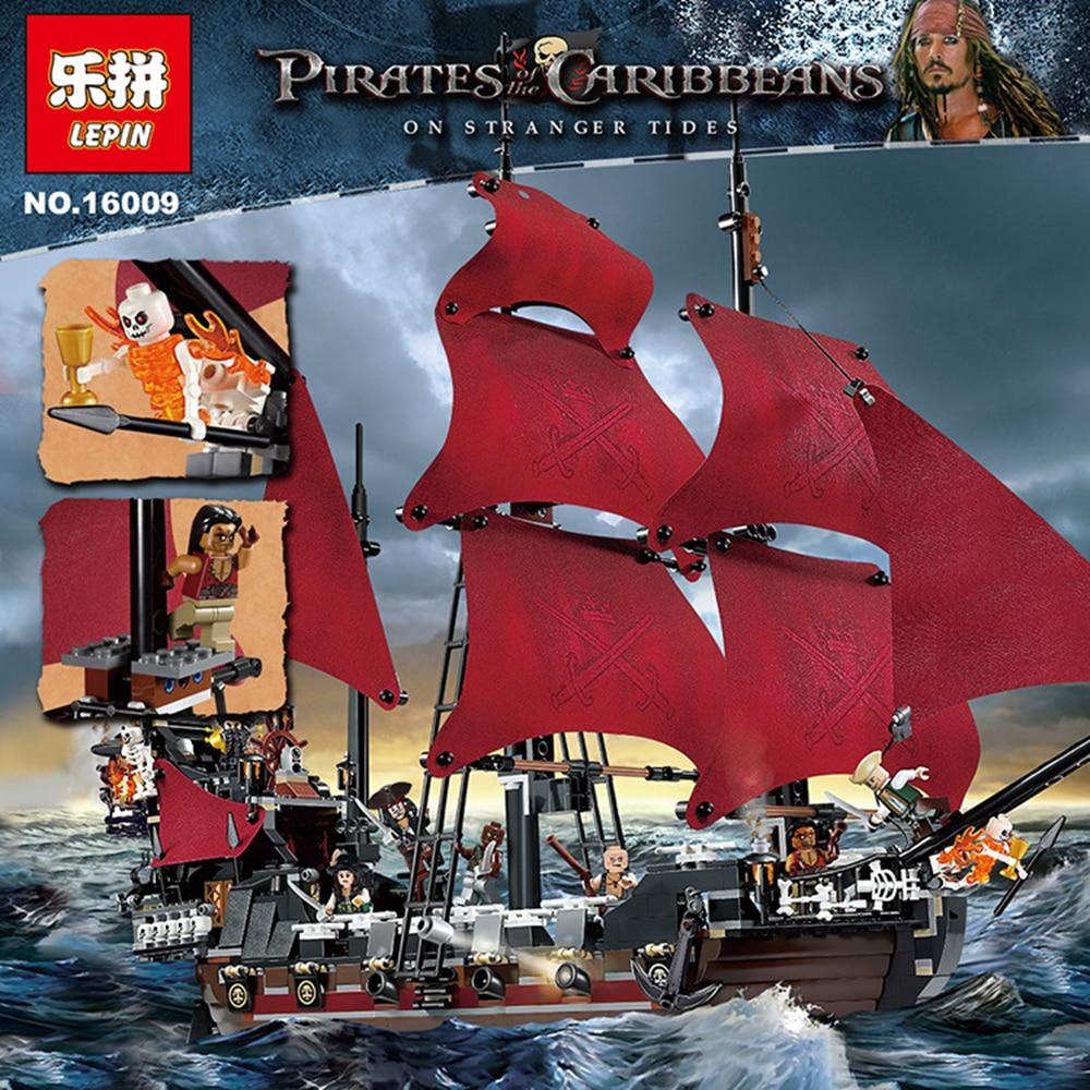 New LEPIN 16009 1151pcs Queen Anne s revenge Pirates of the Caribbean Building Blocks Set figures