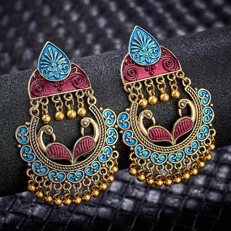SHUANGR Gypsy Jewelry Indian Jhumka Long Small Bell Tassel Earrings Antique Ethnic Multi Color Drop Earrings Brincos