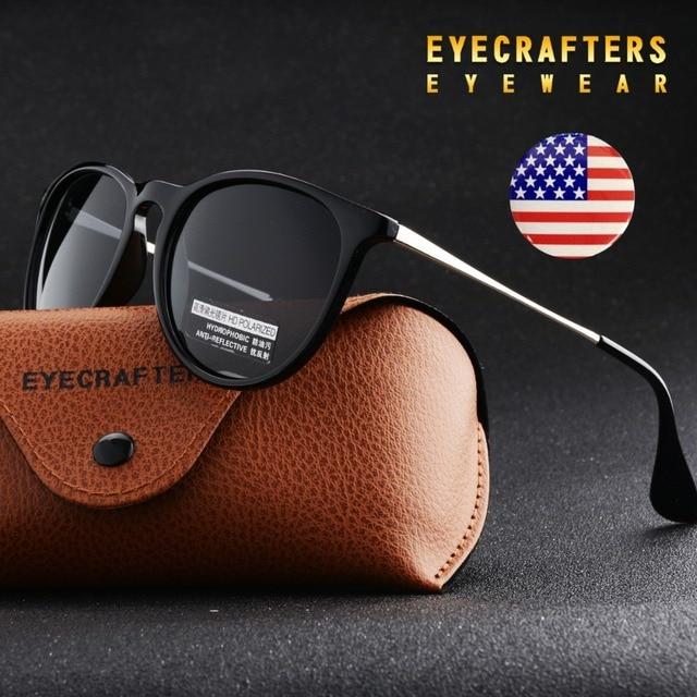 Eyecrafters Мода Черный Женские Солнцезащитные Очки Cat Eye Оттенки Люксовый Бренд Дизайнер Овальной Раунд Ретро Солнцезащитные очки Очки