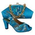Sapato Combinando italiana E Saco de Definir Céu Azul Sapato Italiano Com Saco de Harmonização Definido Para Mulheres Sapatos De Casamento Nigéria MM1013