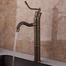 Античная латунь водопад бассейна кран Одной ручки смеситель на бортике кухонный кран