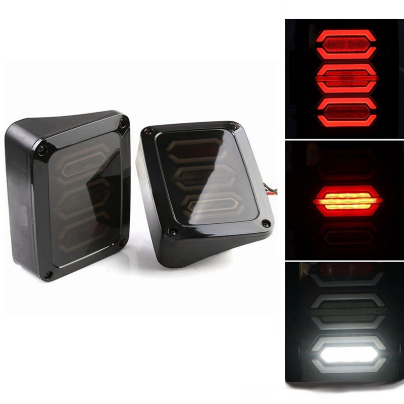 G3 Diamond Series Smoke Lens Red LED Tail Brake Light Assembly w/ Turn Signal & Back Up For Jeep Wrangler JK JKU 2007 - 2017 for jeep wrangler jk 2007 2016 tail light diamond smoke led tail light