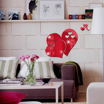 20cm Acrylic heart shape Mirror Wall Stickers Mirror  Effect Removable Love 3D Wall Surface Sticker DIY Home Decoration 4 Colors 7