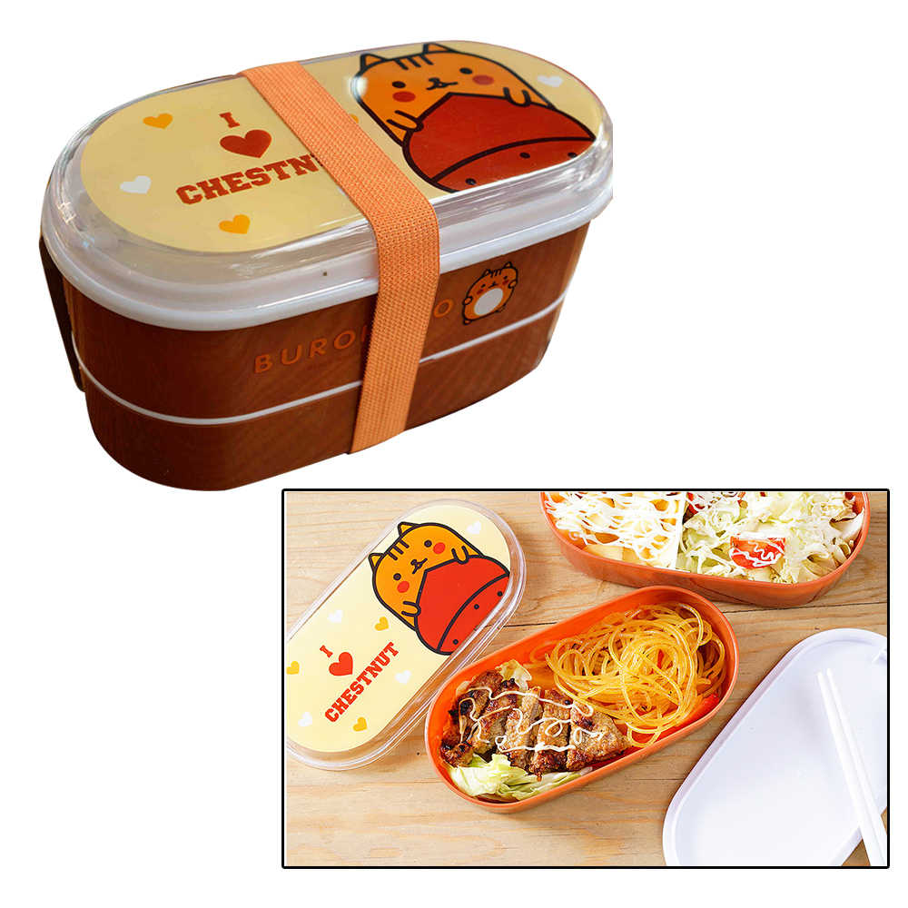 2 Layer Cartoon Kids Small Lunch Box Japanese Style Sandwich Salad School Leakproof Plastic Lunchbox Bento Lunch Box Accessories