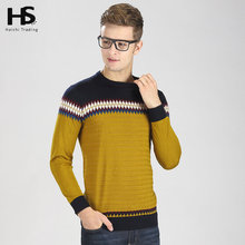 HS New O Neck Striped Sweater Men Long Sleeve Shirt Casual Pullover Men Knitted Wool Cashmere Pull Homme Plus Size S – XXXL 6612