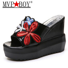 Mvp Boy 2018 Summer Women Super High Wedges Slippers Embroidery Rose Euramerican fashion a Word slippers open toe Shoes