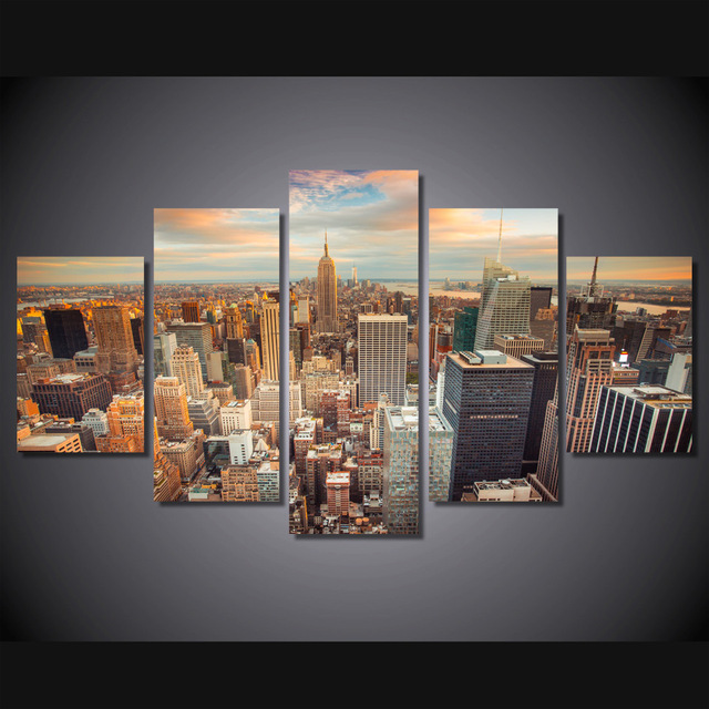 5 Pcs/Set Framed HD Printed New York Empire State Building Wall ...