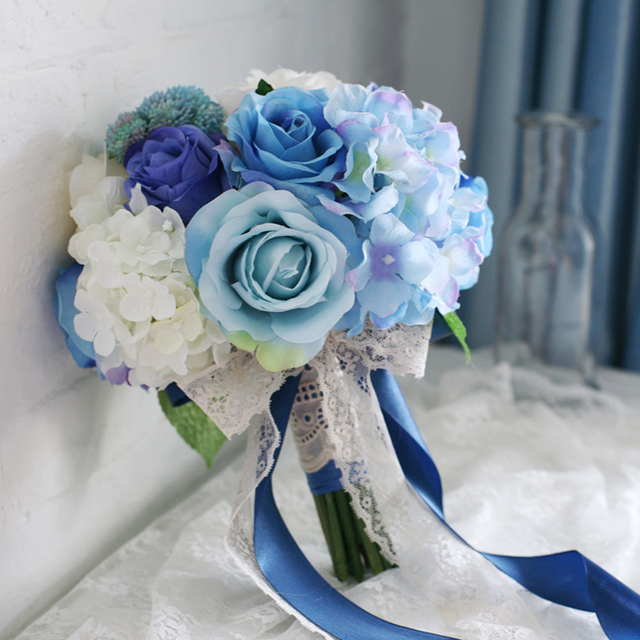 High Simulation Fabric Flowers Bridal/Bridesmaids Bouquet ...