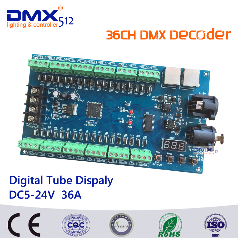 Free Shipping Factory Wholesale 36CH RGB dmx512 Controller,13groups RGB output,36ch decoder  for LED strip light, RGB dump node 24ch 24channel easy dmx512 dmx decoder led dimmer controller dc5v 24v each channel max 3a 8 groups rgb controller iron case