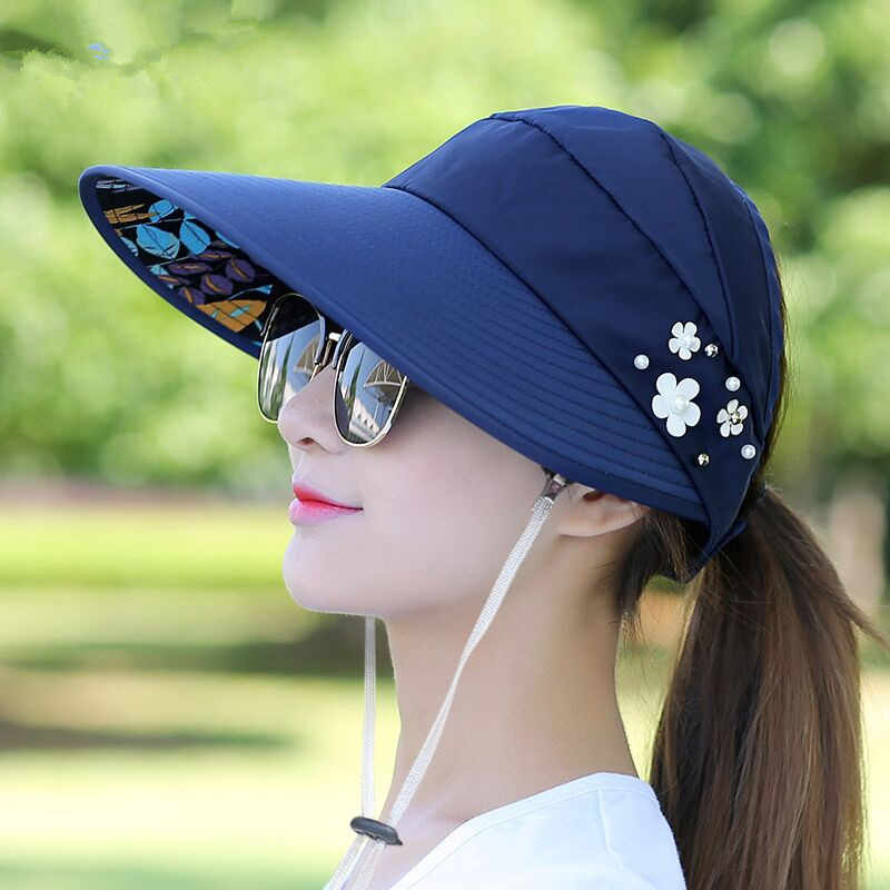 73afe7aa066 ... 2018 Hot 1PCS women summer Sun Hats pearl packable sun visor hat with big  heads wide ...