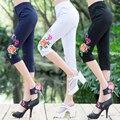 Новый Этнический стиль Вышивки Леггинсы Женщины Плюс размер До Колен брюки QS530