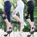 Nuevo estilo Étnico Bordado Leggings Mujeres Más tamaño Hasta La Rodilla pantalones QS530