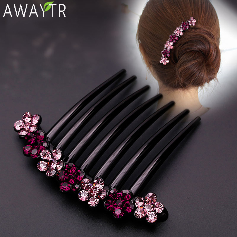 AWAYTR Crystal Hair Combs Clip Women Flower Hairpins Ladies Headdress Female Hairclips Hair Fork Headwear Hair Accessories