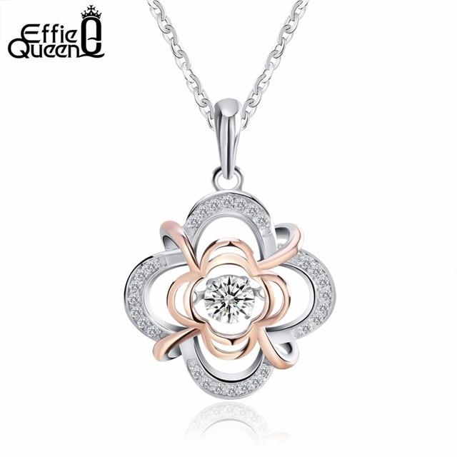 Effie Queen 100% Стерлингового Серебра 925 Пробы Материала Женщины Ожерелье Ювелирных Изделий Мерцание Кубический Циркон Подвески и Ожерелья BN14