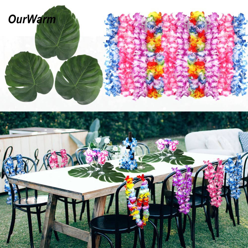 OurWarm 12pcs Hawaii Party Hawaiian Leis Tropical Palm Leaves for Hawaii Luau Party Decorations Home Decoration Accessories