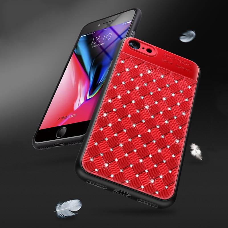 KIP71246_3_Rhinestone Glitter Case for iPhone 6S 7 8 Plus XS XR XS Max Soft TPU Diamonds Weaving Protection Back Cover