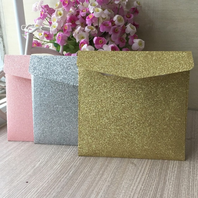 10pcs/lot glitter paper Shiny envelopes wedding RSVP card envelopes