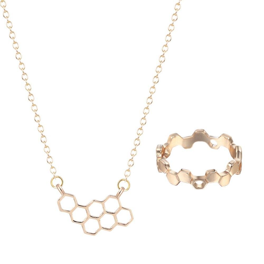 Hochzeits- & Verlobungs-schmuck Aufstrebend Qiming Geometrie Honeycomb Beehive Hexagon Pendent Halskette Ring Engagement Schmuck Geschenk Für Frauen Mädchen Schmuck Set