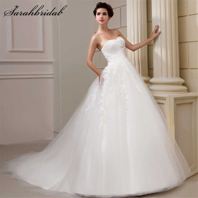 In Stock Vestido De Noiva Sweetheart Pleated Ball Gown Lace Wedding Dresses Hot Sale Lace Up