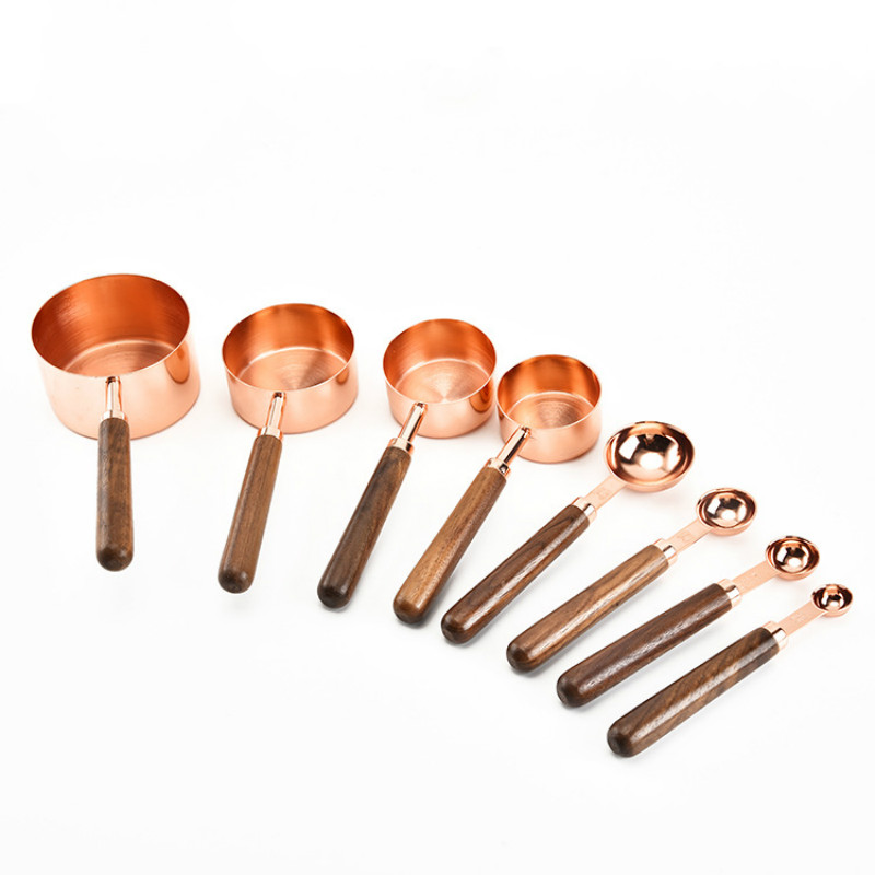 Household Kitchen Dining Bar Baking Tools Walnut Wooden Handle Copper Plating Measuring Cups Spoon Cake Sugar Tools Set