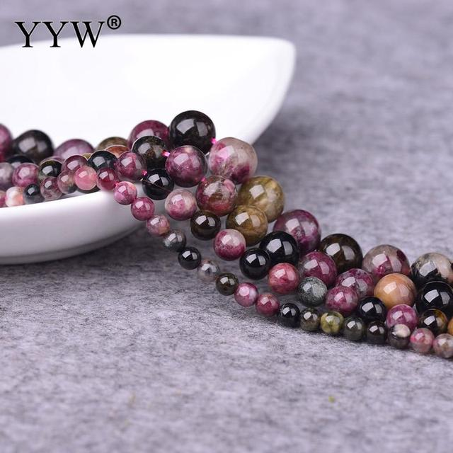 95pcs Strandtourmaline Beads Round Natural October Birthstone Jewelry For Necklace Making