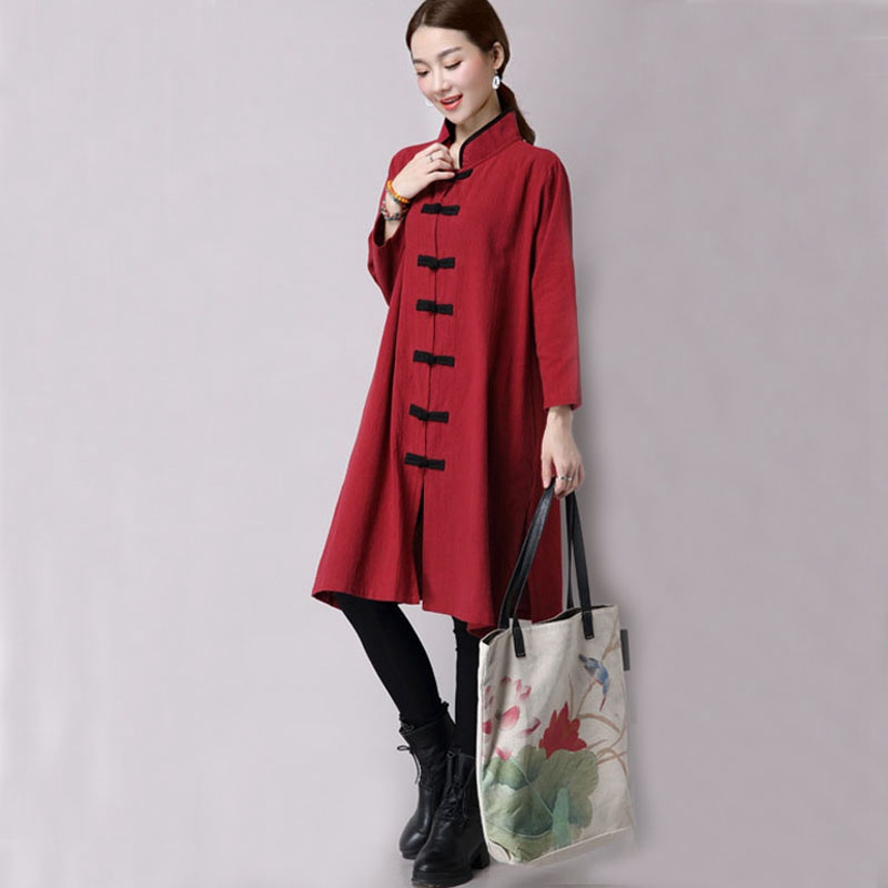 a673b2e2650 Aliexpress.com   Buy Mferlier Autumn Artsy Trenchcoat Mandarin Collar  Pannelled Plate Buckle Single Breasted Split Hem Manteau Femme Long Trench  Coat from ...