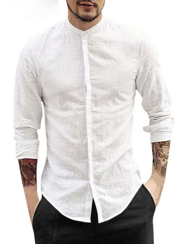 Men Summer Spring Cotton Linen Long Sleeve Shirt Fashion Loose Casual Stand Collar Tops Solid Soft Shirts Men Clothes