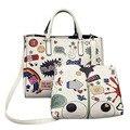 Nueva Moda Bolsos de Las Mujeres de Impresión de Dibujos Animados Bolsa Compuesta De Cuero Repujado Bolso Lady Messenge Bolsa Vintage Bolso de Hombro sac PP-533