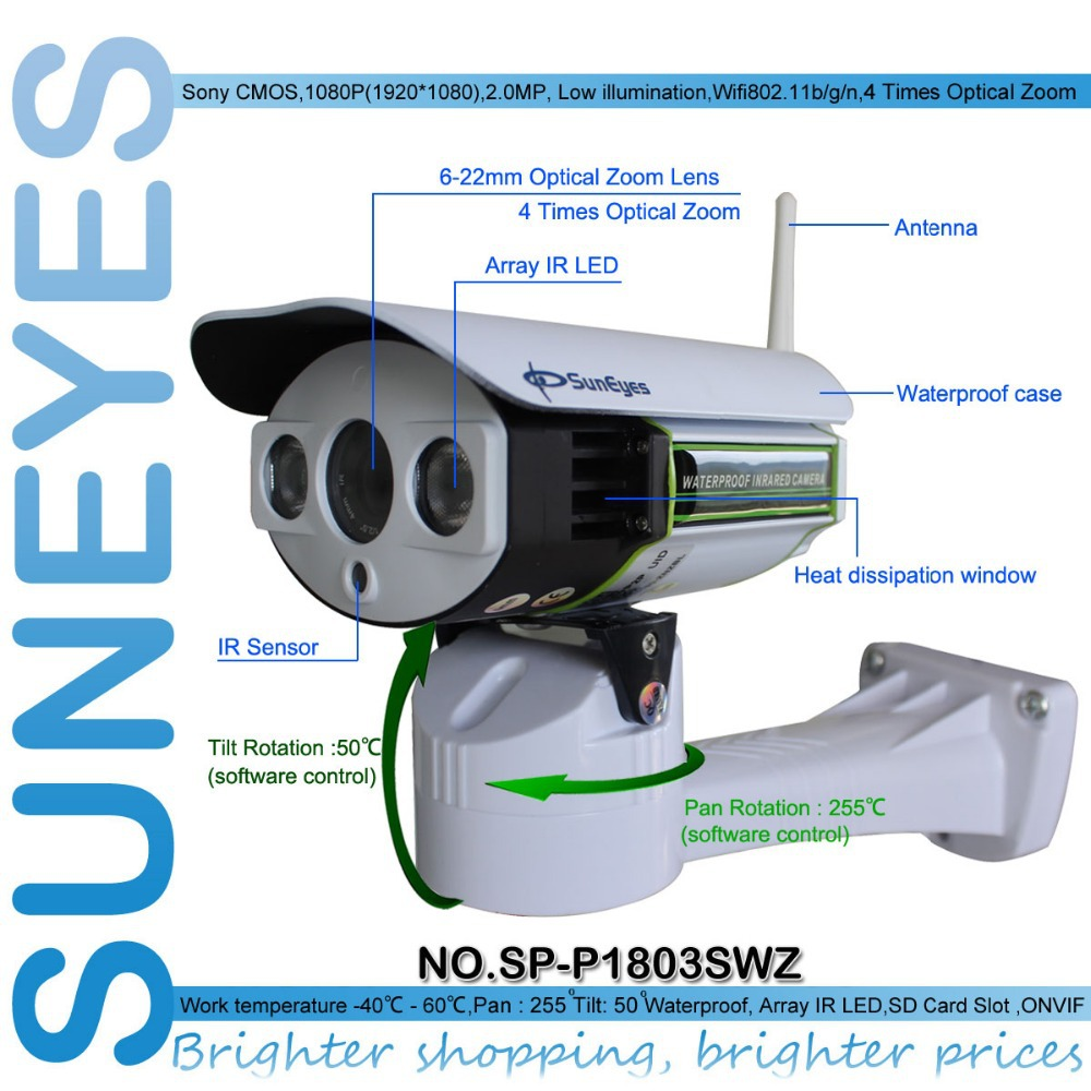 SunEyes SP-P1803SWZ 1080P PTZ IP Camera Outdoor Wireless Full HD Pan/Tilt/Zoom 6-22mm Optical Zoom with Micro SD Slot ONVIF suneyes sp v1809sw 1080p ptz ip camera outdoor wireless full hd pan tilt zoom with 2 8 12mm optical zoom and micro sd slot onvif