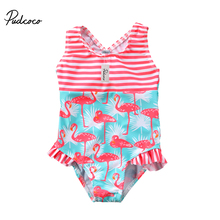 Toddler Kid Flamingo Girl One-piece Swimsuit Little Girls Birds Swimwear Swimsuits Set Swimmer Bather Swimming Clothes