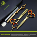 "5.5"" golden scissors japanese hairdressing scissors professional hair cutting shears hair thinning scissors set coiffeur"