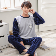 Men s Pajamas Winter Mens Flannel Pajama Sets O Neck Long Sleeve Pyjamas Men Sleepwear Male