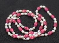 Ngọc trai nước ngọt gạo trắng & tím hạt đá màu đỏ necklace 26 inch bán buôn hạt nature FPPJ