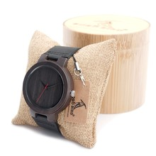 BOBO BIRD Men's Ebony Wood Design Watches With Real Leather Quartz Watch for Mens Brand Luxury Wooden Bamboo Wrist Watch