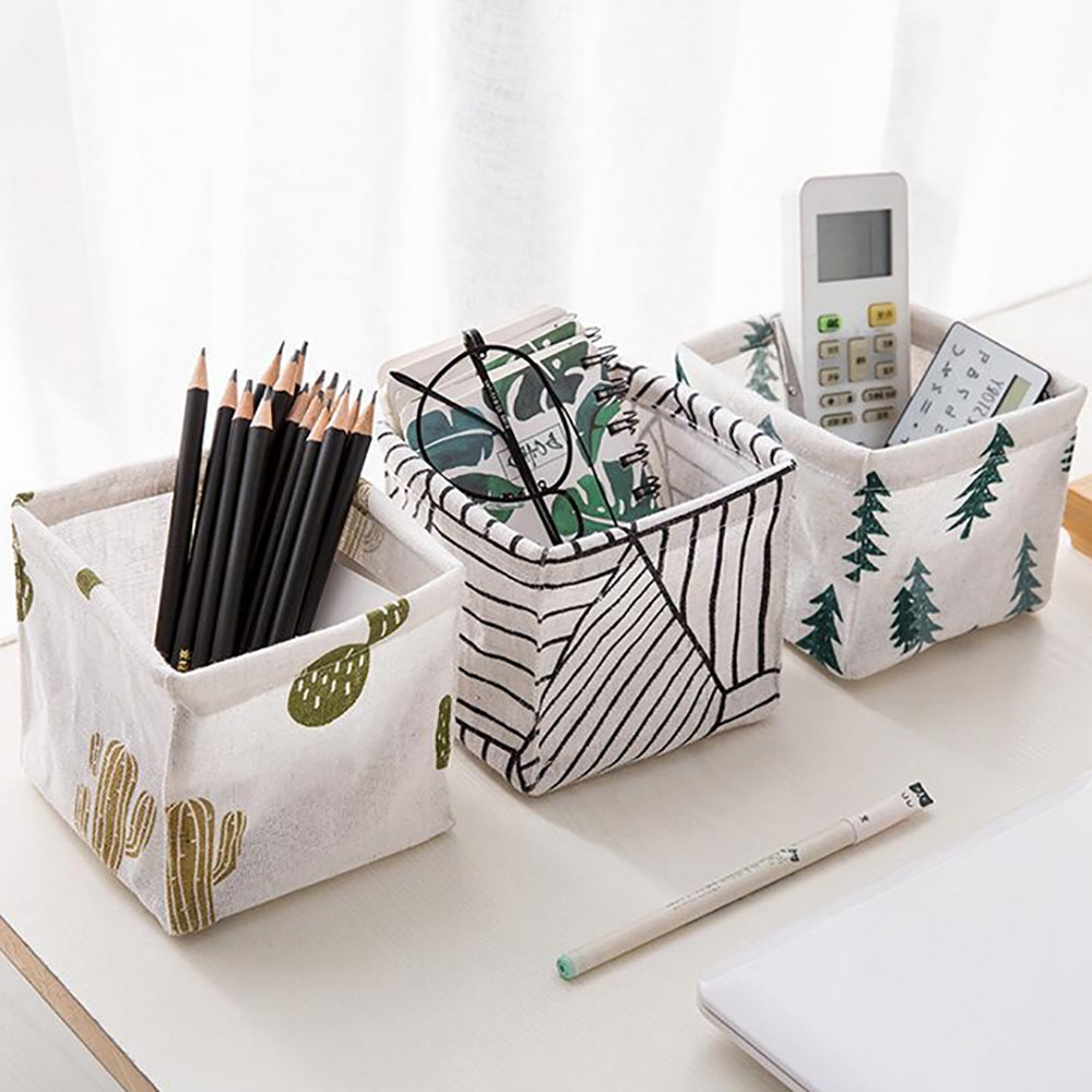 Basket Container Desktop-Organizer Cosmetics Sundries-Storage Cute Foldable Cotton Linen title=
