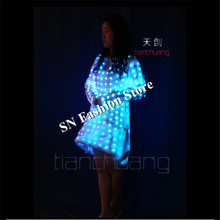 TC-117 LED light  colorful ballroom led women dress dance costumes led dj bar singer stage sexy wears Program design led clothes