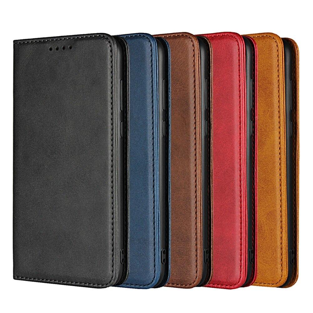 Estuche Huawei P inteligente cubierta de la caja de cuero genuino para Huawei P inteligente casos de lujo de piel de becerro de grano magnético Flip cartera Fundas coque bolsas