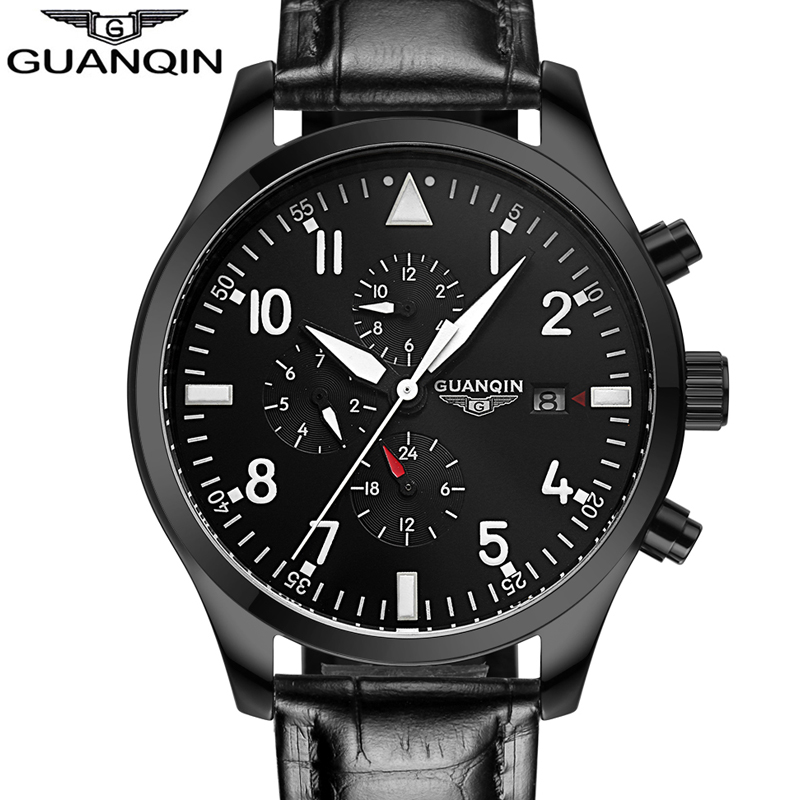 relogio masculino GUANQIN Automatic Mechanical Watches Men Sport Luxury Brand Luminous Watch Fashion Casual Leather Wristwatch