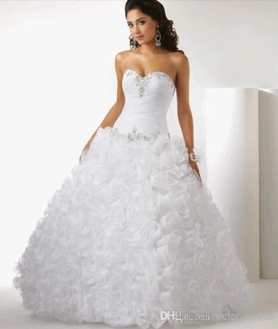 Luxury Pure White Beading Rhinestone Ruffles Floor-Length Quinceanera Dress  Bridal Wedding Gown 6598eef7f334