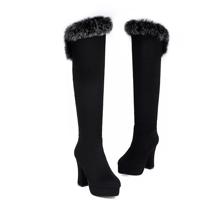 2017 Botas Mujer Big Size 34-43 Knee high Boots Thick Sole Platform Long Winter warm snow boots X15-189