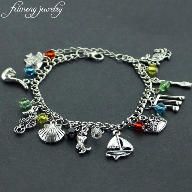 Feimeng Jewelry Little Mermaid Charm Bracelet S Crown Fish Musical Note Oar Accessoreis Pendant Bracelets