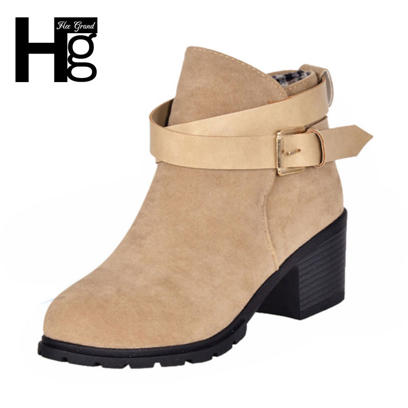 hee grand winter fashion boots thick heel platform