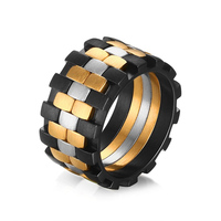 VNOX Rings For Men Stainless Steel Jewelry 12mm Matte Finished 3 Tone Unique Ring For Men