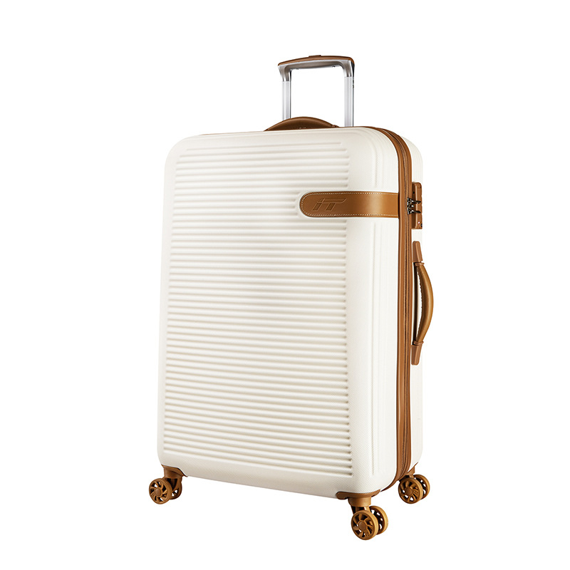 LeTrend Spinner Rolling Luggage Scratch-resistant Travel Bag Suitcase Wheels 19 inch Women white Carry On Trolley