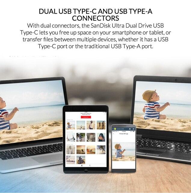 SanDisk USB Flash Drive Ultra Dual USB3.1 Disk OTG Type-C Pen Drive Stick 150M/s 16GB 32GB 64GB 128GB for Smartphone Laptop